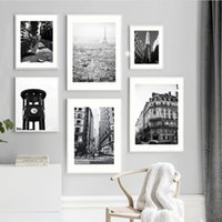Wholesale city painting black white resale online - Wall Art Canvas Painting Paris City Time Towel Building Black White Nordic Posters And Prints Wall Pictures For Living Room