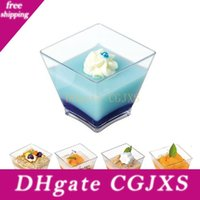 Wholesale disposable dishes for sale - Group buy 100pcs oz ml Disposable Mini Square Dessert Cup Cube Plastic Sample Dish Cake Jelly Pudding Cups Party Kitchen Accessories
