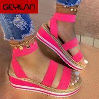 Wholesale espadrilles sandals for sale - Group buy 2020 Platform women Sandals Wedges Shoes For Women Sandalias Mujer Summer Shoes Clog Espadrilles Sandals