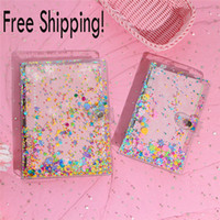 Wholesale spiral notebook a5 for sale - Group buy A5 A6 Holes Colorful Spiral Rings Transparent PVC Sequins Binder Loose leaf Shell Kids Learning Planner Notebooks Cover Office School Supp