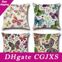 Wholesale butterflies bedding for sale - Group buy New Design Cotton Linen Throw Pillow Case Cushion Cover Butterfly Pattern Seat Car Home Sofa Bed Decorative Pillowcase Christmas Gift