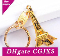 Wholesale keychain key ring favors resale online - 500pcs Promotion Tower Keychain Party Favors Keys Souvenirs Paris Tour Chain Ring Decoration Holder Wedding Gift