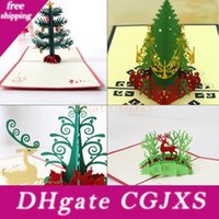 Wholesale origami christmas for sale - Group buy New Handmade Christmas Cards Creative Kirigami Origami d Pop Up Greeting Card With Christmas Tree Desgin Postcards For Kids Friends