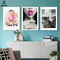 Wholesale sexy nude painting art for sale - Group buy Girl s Room Dormitory Poster Decoration Sexy Lips Pretty Girl Painting Canvas Print Pictures Wall Art Quote Poster Home Decal
