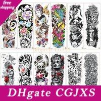 Wholesale free christmas art for sale - Group buy Tattoo Waterproof Temporary Tattoo Sticker Skull Angel Rose Lotus Men Full Flower Tatoo Body Art Tattoo Girl