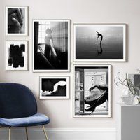 Wholesale sexy nude painting art resale online - Black White Sexy woman window Nordic Vintage poster Abstract Wall Art Print Canvas Painting Wall Pictures For Living Room Decor