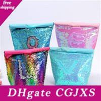 Wholesale insulation lunch bags resale online - Fashion Style Mermaid Sequins Thermal Insulation Bento Bag Aluminum Film Waterproof Lunch Box Bags Outdoors Picnic Ice Pack hh H1