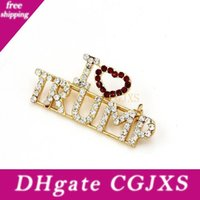 Wholesale word brooch pins for sale - Group buy 500pcs Unique Design Rhinestone Brooches For Women Red Heart Letter I Love Trump Words Pin Girls Coat Dress Jewelry Beauty Item