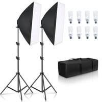 Wholesale studio equipment resale online - Photography Softbox Lighting Kit E27 w Led Bulbs Photo Studio Light Equipment Light Box For Youtube Video T200610