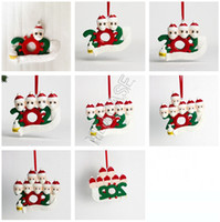 Wholesale xmas soft toys resale online - 1 Quarantine Family Christmas Ornament DIY Polymer Clay wih Face Mask Xmas Tree PARTY Hanging Soft Kids Ceramic Toys GWF1791