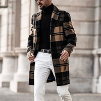 Designer Men Coats British Style Lapel Neck Long Sleeve Loose Trench Coats Casual Solid Color Man Outerwear