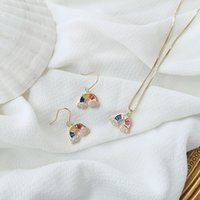 Wholesale women jewelery for sale - Group buy New design fashion jewelery cute crystal rainbow earrings for woman new trendy zircon necklace and earring set jewelery
