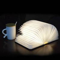 Wholesale table lamp cover resale online - Cgjxs Folding Book Light Usb Rechargeable Wooden Magnet Cover Table Lamp Desk Ceiling Decor White Warmwhite Colorful Jk0158