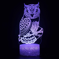Wholesale owl moon for sale - Group buy 3D colorful led lights stereo vision touch night light Owl acrylic D remote control atmosphere table lamp