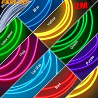 Wholesale feeldo resale online - FEELDO PC Flexible Moulding EL Neon Glow Lighting Rope Strip With Fin For Car Decoration