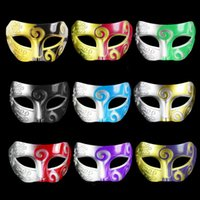 Wholesale assorted masquerade masks resale online - Retro Roman Gladiator Halloween Party Facial Masquerade Mask Venetian Dance Party Mask Men Mask Assorted Colour DHE1387
