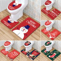Wholesale gifts bathroom supplies resale online - Santa Claus Rug Seat Bathroom Set Merry Christmas Decorations For Home Navidad Natal Cristmas Party Supplies New Year Gift