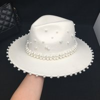 Wholesale hands made hat resale online - Fedora panama Autumn winter white wool women s hat with many Pearls ladies caps hand made fashion French style