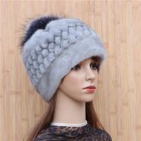 Wholesale korean fashion imports resale online - Fur mink pineapple hat whole mink imported fashion whole spiral shape black fur ball hat Korean winter warm