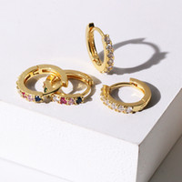 Wholesale small earrings designs resale online - New Korean Design Gold Small Hoops with CZ Zircona Crystal Loop Earrings for Women Female Small Earrings Hooks Jewelry Accessory