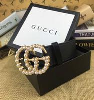 Wholesale designer mens belt resale online - 2019 fashion mens belts leather business belt buckles luxury belts black strap big gold buckle womens belt with boxA1