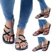 Wholesale Women New Fashion Bohemia Beach Flip Flops Sandals Casual Flats Ladies Outdoor Open Toe Flat Sandals Plus Size