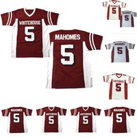 high school fußballs groihandel-#5 Patrick Mahomes Whitehouse High School Football Jersey White Red 100% Stitched S-4XL High Quality Fast Shipping