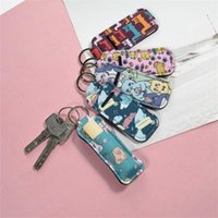 Wholesale light lipsticks resale online - Hot Selling Keychain Small Square Neoprene Lipstick Set Keychain Leopard Eco friendly Color Pattern Light Blue Key Ring