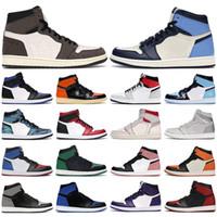 Wholesale black mens shoes resale online - Mens basketball shoes s high og Obsidian Royal Toe Black white Rust Pink UNC Tie Dye Chicago men women trainers sports sneakers