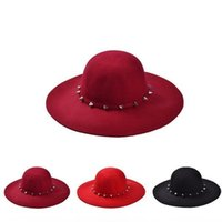 Wholesale hat studs resale online - Fedora Hat New Fashion Wine Red Red Black Wool Floppy Hats with Studs Big Brim for Women Ladies