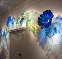 Wholesale art deco gallery resale online - Cgjxs Gallery Wall Art Elegant Blue Shade Murano Glass Plates Hand Blown Glass Wall Light Decorative Luxury Flower Art Glass Wall Sconc