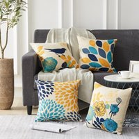 Wholesale blue bird pillow cover resale online - Pillowcase Flower Bird Print Household Pillowcase Cushion Covers Square Pillow Accessories Pillow Case