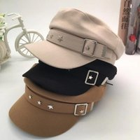 Wholesale hat studs for sale - Group buy Womens Bristish Captain Cap Fall Winter Designer Punk Newsboy Hat with Belt Flat Top Studs Octagonal Hats Fashionable