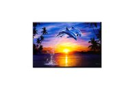 Wholesale best seascape oil paintings for sale - Group buy Best Gift Home Wall Art Decor Seascape Dolphins Beaches Dusk Sunset Oil Painting Pictures Printed on Canvas