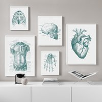 Wholesale skull art pictures resale online - Heart Finger skull Human Anatomy Poster Vintage Wall Art Canvas Painting Nordic Posters And Prints Wall Pictures For Living Room
