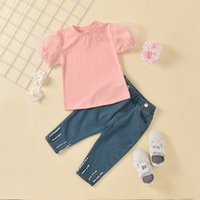 Wholesale summer clothes for shirt jeans for sale - Group buy Fashion Girls Clothing Sets Summer Toddler Kids Baby Girls Puff Sleeve Lace T shirts Jeans Pants for Children Outfits