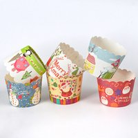 Wholesale cupcake liner resale online - 50pcs Cartoon Cupcake Paper Cups Greaseproof Cute Cupcake Wrapper Paper Wedding Party Baking Cup Cupcake Liners VT1634