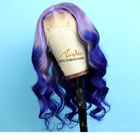 Wholesale colorful hair ombre resale online - Purpe Ombre Blue Full Lace Human Hair Wigs with Baby Hair Natural Wave Density Transparent Colorful Full Remy Glueless Wigs