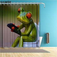 Wholesale fabric shower curtain resale online - Fun Porcelain Frog On Toilet Decor Home Shower Curtain Funny Green Cartoon Animal Polyester Fabric Bathroom Accessories Curtains