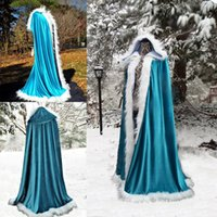 Wholesale winter white hooded cape for sale - Group buy White Fur Long Hooded Cloaks Winter Wedding Capes Wicca Robe Warm Hallowmas Christmas Evening Party Prom Jacket