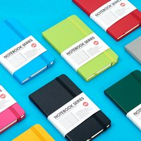 Wholesale Hard Cover Small Notebook Diary Book Pocket Candy Color Elastic Band Ruled Journal