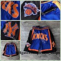 Wholesale york sports resale online - Mens JUST DON Pocket Basketball Shorts Stitched Blue Pocket New York Knicks Shorts Lining Mesh Sports Pocket Sweatpants