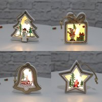 Wholesale christmas star for sale - Group buy Christmas Lighted Wooden Pendant Merry Christmas Tree Bell Gift Star Shaped Pendant Luminous Christmas Hanging Decoration GWF1929
