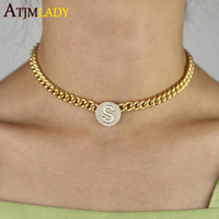 Wholesale women curb chain necklace for sale - Group buy 2020 trendy wide curb cuban link chain choker women necklace Gold filled round Heart with Letter S engraved tag chain necklaces