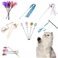 Wholesale pet cats games resale online - Cat Game Accessory Stick Wand Fishing Supplies Cat Toy Feather Plastic Funny Style Stick Pet Interactive Rod Toys Cat Kitten bbyeCI