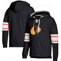 Wholesale High quality Chicago hoodies Blackhawks Jersey Lace Up Pullover Hoodie Black Mens With Splicing Draw string Full Sleeves Stitched t shirts