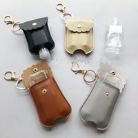 Wholesale pendent sets resale online - 60ML Hand Sanitizer Bottle with PU Leather Holder Cover Sleeve Bag Set Protable Travel Bottles Keychains Key Chain Pendent OWF1870