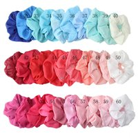 Wholesale hair material resale online - Scrunchies Elastic Hair Bands Elastic Ring Hair Ties Solid Cloth Ponytail Holder Ladies Girl Hairbands Ornaments Chiffon material D91505