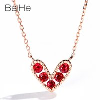 Wholesale ruby roses for sale - Group buy BAIHE Solid K Rose Gold ct Round Natural Rubis Engagement Trendy Fine Jewelry Gift Beautiful heart shaped ruby Necklaces