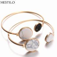 Wholesale marble bracelet resale online - MESTILO Gold Color Punk Trendy Classic White Black Round Marble Faux Stone Adjustable Open Cuff Bangles Bracelets for Women
